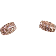 Vintage 1960s 14K Gold Stud Earrings - Abstract Mod Front Design!