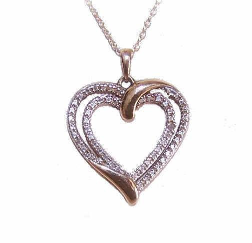 Sterling Silver, Vermeil & Diamond Heart Pendant Necklace!