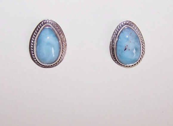 Vintage STERLING SILVER & Turquoise/Larimar Earrings - Pear Shaped Studs!