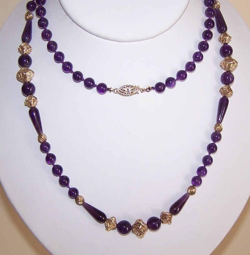 "Lovely AMETHYST Bead 30"" Necklace with Gold Filled Findings!"
