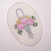 Vintage FRENCH Silk Ribbon Applique - Basket of Flowers!