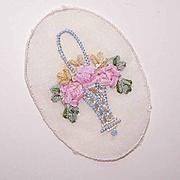 Vintage FRENCH Silk Ribbon Applique - Basket of Flowers!