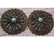 French ART DECO Millinery Applique/Trim - Double Rounds!