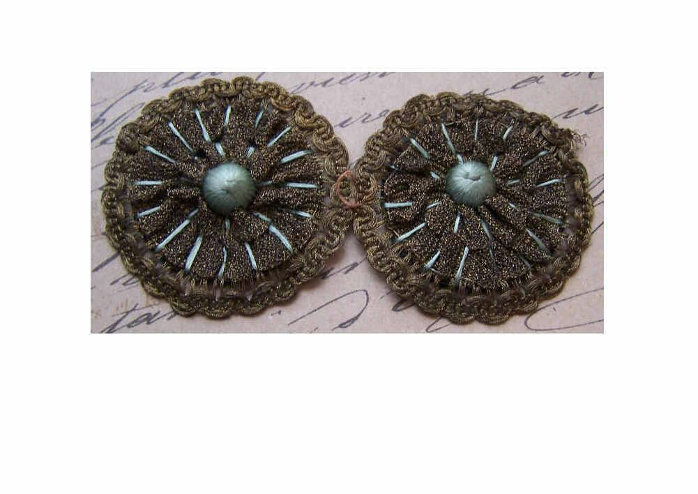 Pair French ART DECO Metallic Gold Lace & Silk Floss Millinery Appliques/Trim!