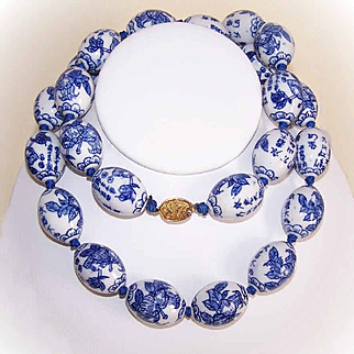 Stunning Necklace of L-A-R-G-E Chinese Blue Porcelain Beads!