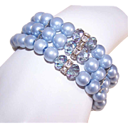 1960s Blue Pearl, Crystal & Rhinestone Bead Stretch Bracelet!