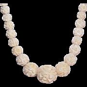 Vintage HAND CARVED Bone Bead Necklace of Florals!