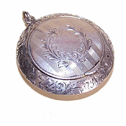 ANTIQUE EDWARDIAN Sterling Silver Power Compact Pendant!