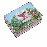 FRENCH VICTORIAN Paper Hinged Box - Doves in Birdbath Chromo!
