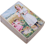 FRENCH VICTORIAN Paper Jewelry Box - Little Girl Chromolithograph!