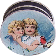 FRENCH Bonbonniere or Pill Box with Chromolithograph - Best (Girl) Friends!