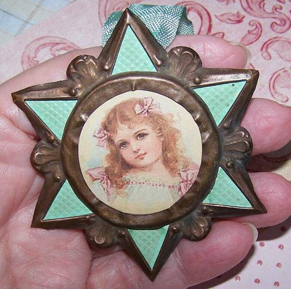 C.1900 FRENCH Religious Brass Star Ornament or Pendant Necklace!