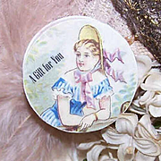 C.1900 FRENCH Bonbonniere or Pill Box with Lady Chromolithograph!