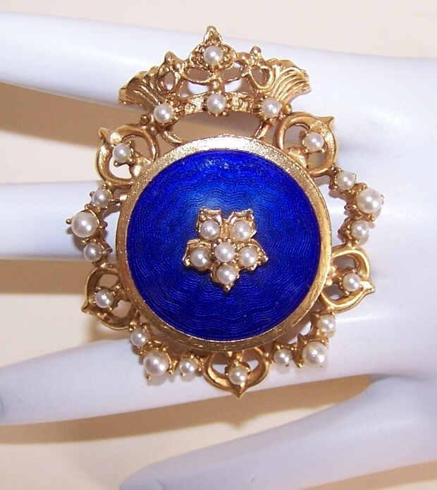 "Vintage FLORENZA ""Crown Royal"" Gold Tone Metal, Faux Pearl & Blue Enamel Pin/Pendant Combo!"
