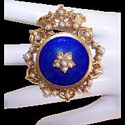 Vintage FLORENZA Gold Tone Metal, Faux Pearl & Blue Enamel Pin or Pendant - Crown Royal Line