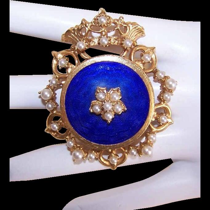 """Vintage FLORENZA """"Crown Royal"""" Gold Tone Metal, Faux Pearl & Blue Enamel Pin/Pendant Combo!"""