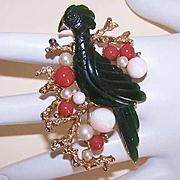 1960s HOBE Gold Tone Metal & Faux Gemstone Pin/Brooch/Pendant - Oriental Bird!