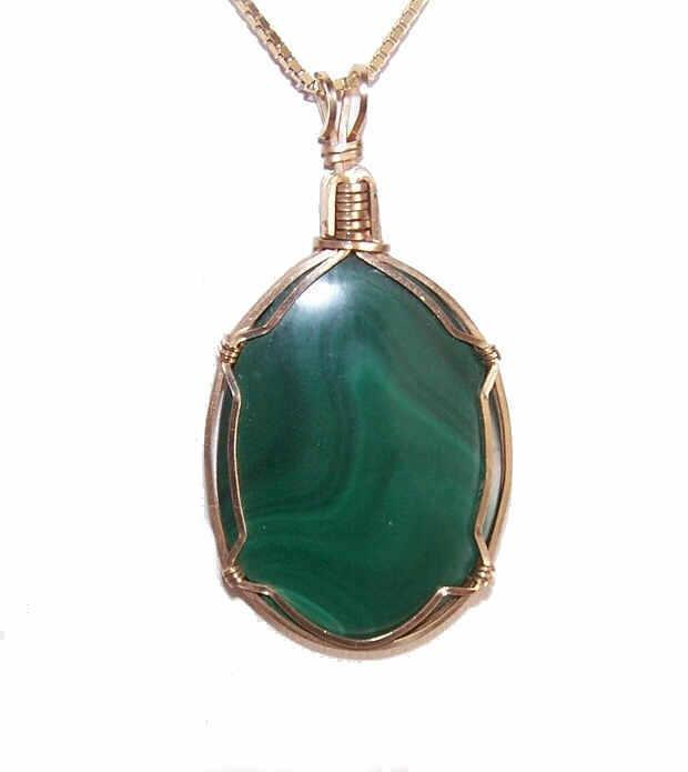 Vintage GOLD FILLED Malachite Pendant on Sterling Silver Vermeil Box Chain!