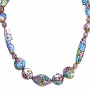Vintage Pastel ITALIAN MILLEFIORI Glass Bead Necklace!