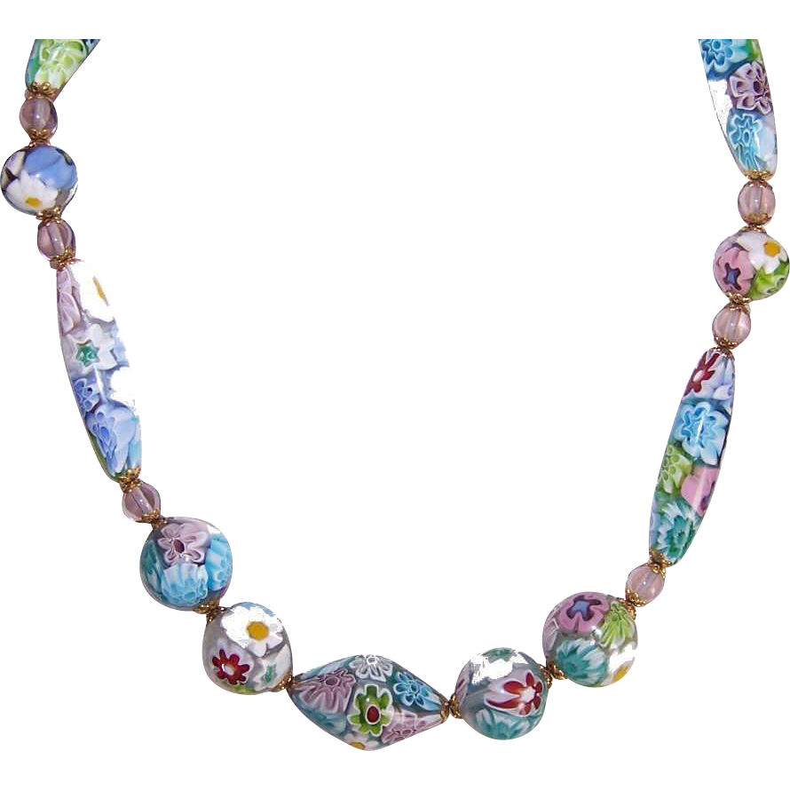 Vintage Pastel ITALIAN MILLEFIORI Glass Bead Necklace!