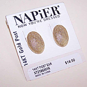 NAPIER Gold Tone Metal Earrings On Orig Card - 14K Gold Posts!