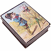 FRENCH VICTORIAN Paper Jewelry Box - Gentleman Soldier Chromolithograph!