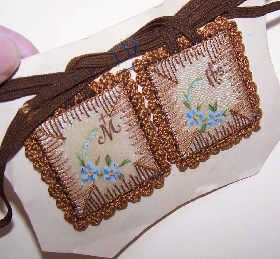 Unused C.1930 RELIGIOUS Scapular on Card - Hand Painted & Embroidered!