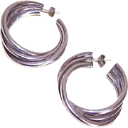 Vintage STERLING SILVER Hoop Earrings - Large & Funky!