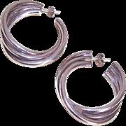 Vintage STERLING SILVER Hoop Earrings - Large & Funky!