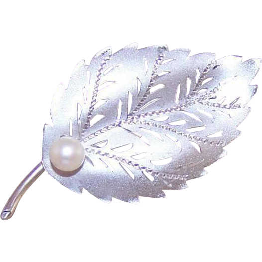 RETRO MODERN Sterling Silver & Cultured Pearl Pin/Brooch - Leaf Design!