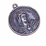 Interesting STERLING SILVER Virgin Mary & Crucified Jesus Medal/Pendant!
