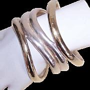 Vintage Mexican STERLING SILVER & Vermeil Bangle Bracelet!