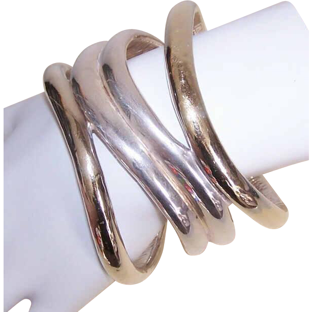 Vintage Mexican STERLING SILVER & Vermeil Bangle Bracelet!