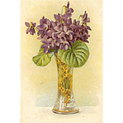 C.1908 Postcard - Paul De Longpre Vase of Violets!