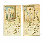 Pair of VINTAGE Religious Easter Cards - Printed in Italy!