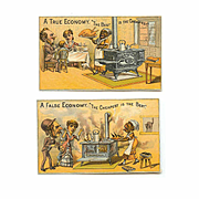 2 Fabulous VICTORIAN Trade Cards - True Economy/False Economy - Black Americana!