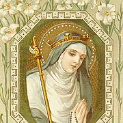 C.1910 Religious Prayer Card for Saint Gertrude the Great!