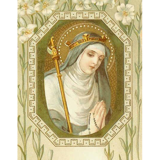 St Gertrude the Great C.1910 Religious Prayer Card!
