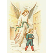 C.1900 GERMAN Religious Prayer Card - Guardian Angel!