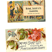 2 VICTORIAN St. Louis, Mo Trade Cards - Mermod, Jaccard (Jewelers) & Empire Soap Co!