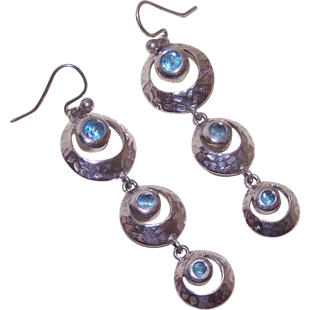 Vintage STERLING SILVER & Blue Rhinestone Drop Earrings!