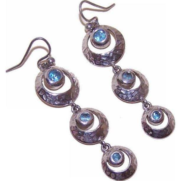 Vintage STERLING SILVER & Blue Rhinestone Drop Earrings!