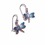 Sweet Vintage STERLING SILVER Earrings - Dragonflies with Opal Accents!