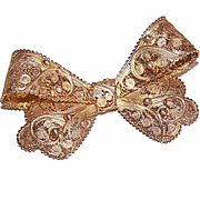 Vintage STERLING SILVER Vermeil Pin/Brooch - Filigree Bow from Portugal!