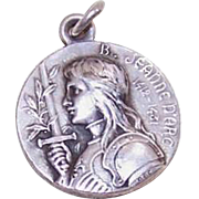 Vintage FRENCH Silverplate Medal/Charm - Joan of Arc!