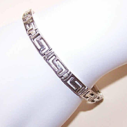Vintage STERLING SILVER Greek Key Link Bracelet!