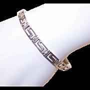 Vintage STERLING SILVER Greek Key Link Bracelet!