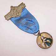 C.1900 POLISH Religious Ribbon Badge/Medal - Virgin Mary/Angel!