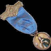 C.1900 POLISH Religious Ribbon Badge/Medal - Virgin Mary/Angel!