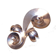 Retro Modern STERLING SILVER Demi-Parure: Large Swirl Pin with Earrings!